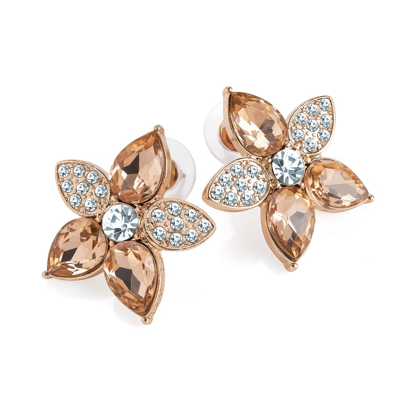 Rose Gold Colour Crystal And Peach Flower Stud Earrings