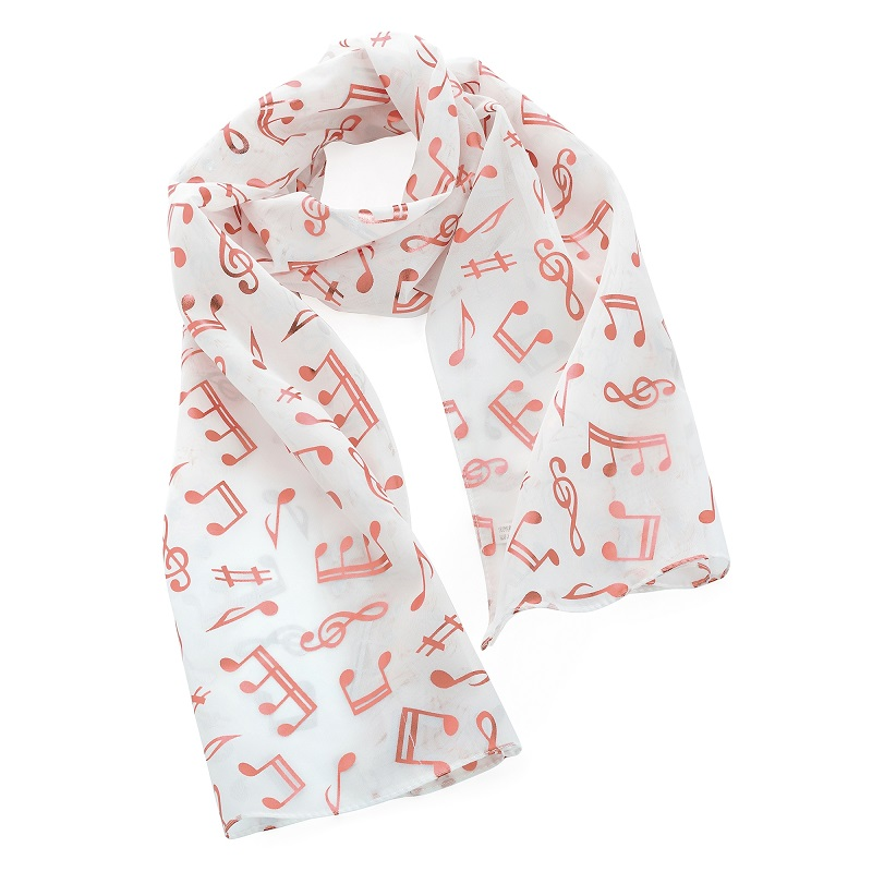 White And Rose Gold Colour Foil Print Musical Note Design Scarf.