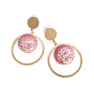 Worn Gold Colour Pink Sequin Ball Drop Earring