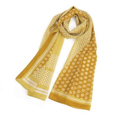 Yellow And White Polka Dot Design Scarf Buy UK