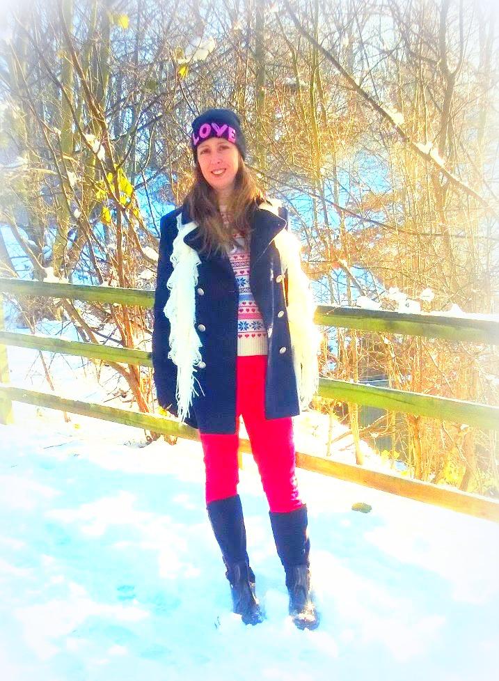 Snow Fashion, Love Hat, Posh Wellies & Red Leggings