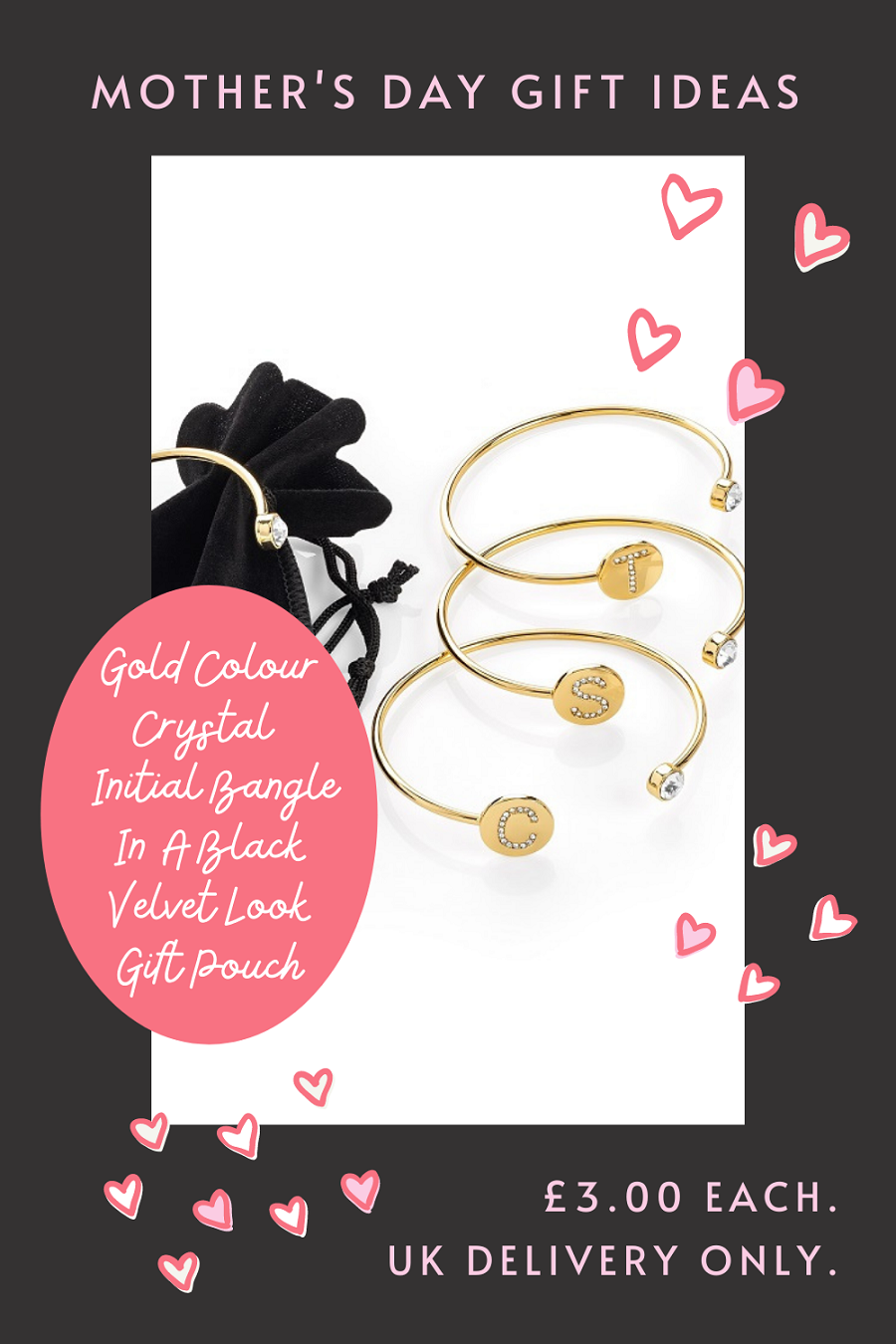 Gold Colour Crystal Initial Bangle: Mother's Day Gifts