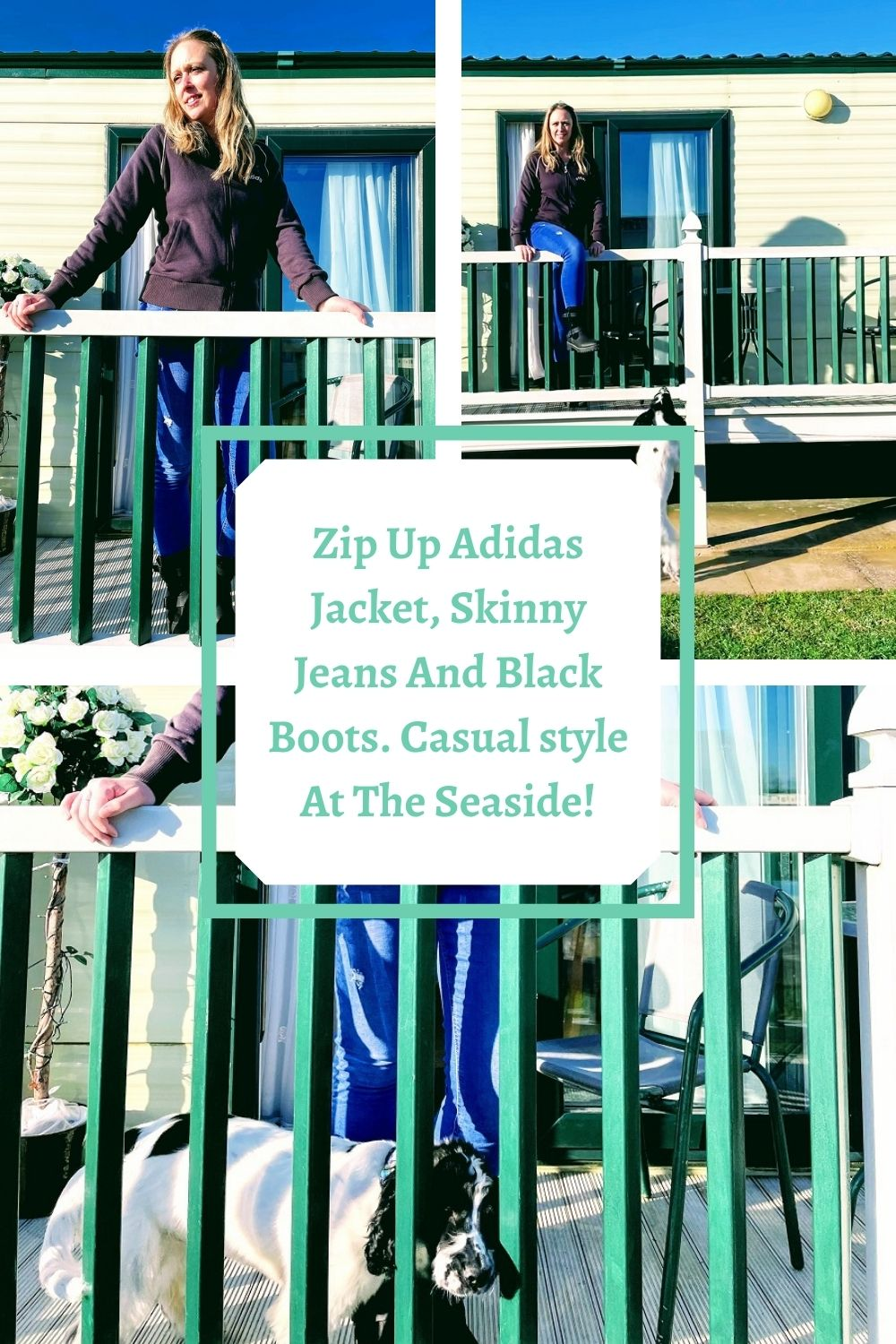 Zip Up Adidas Jacket, Skinny Jeans And Black Boots. Casual style At The Seaside!