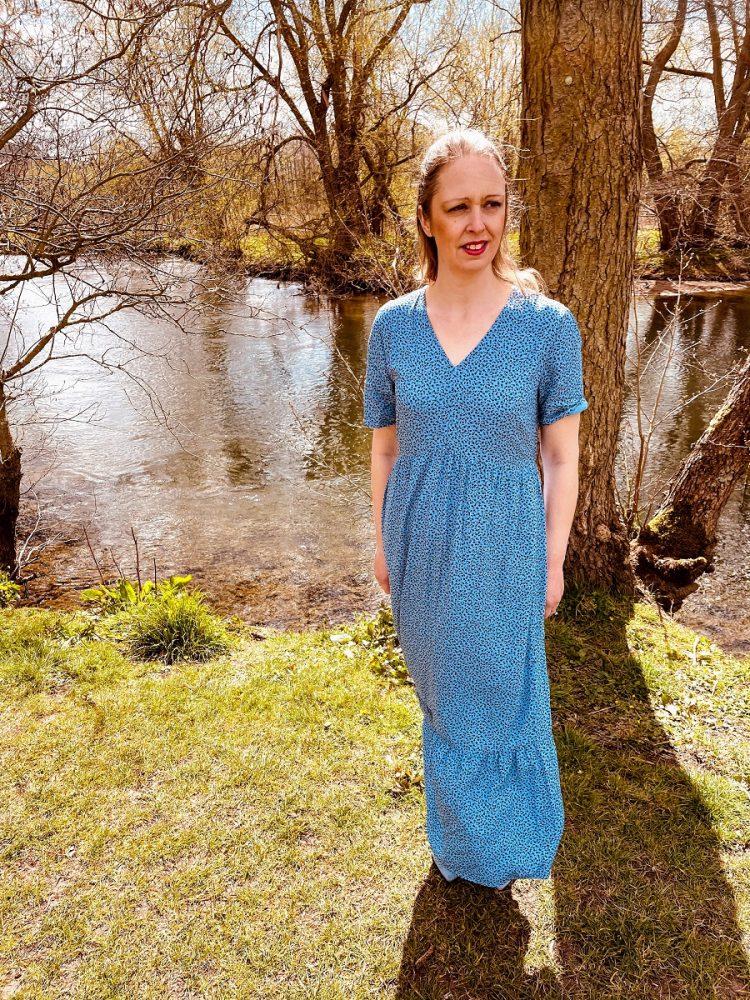 Light Blue Floral Maxi Dress With Light Blue Shoes