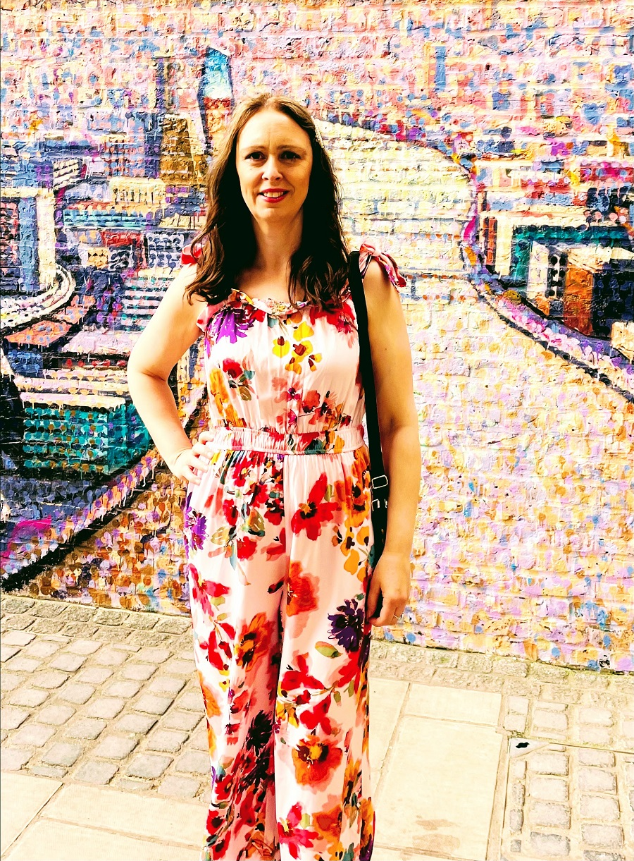 Flowered Jumpsuit And Polka Dot Trainer