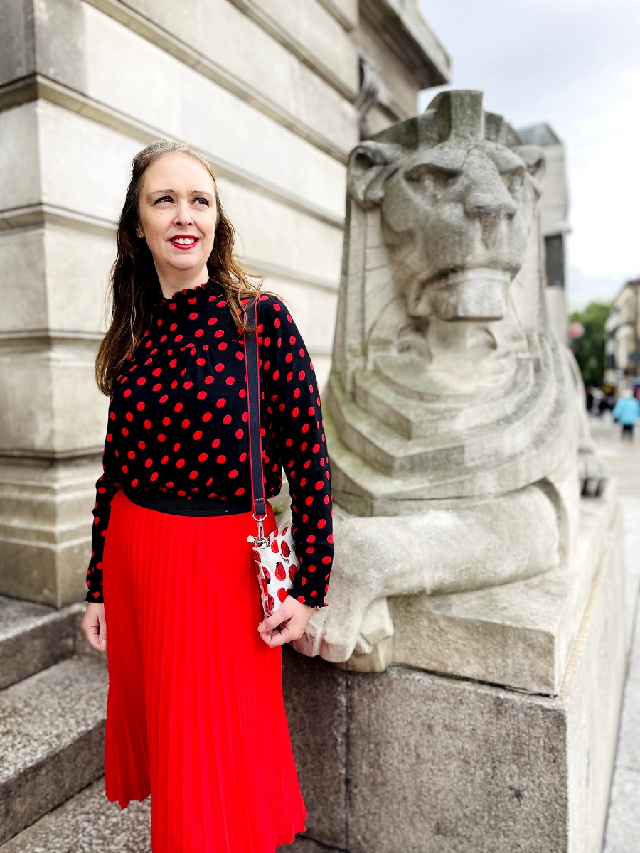 Red And Black Polka Dot Shirt From The Charity Shop
